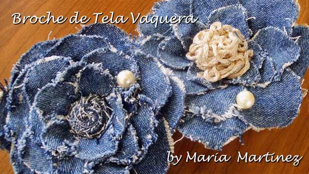 Reciclando: Broche de tela Vaquera, inspirado en las Camelias de Chanel
