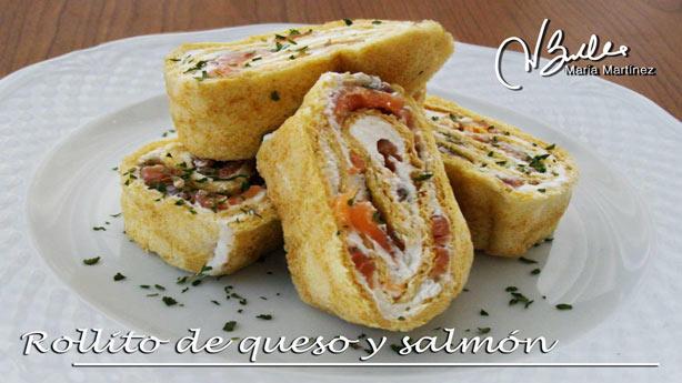 Rollito Dukan de queso y salmón