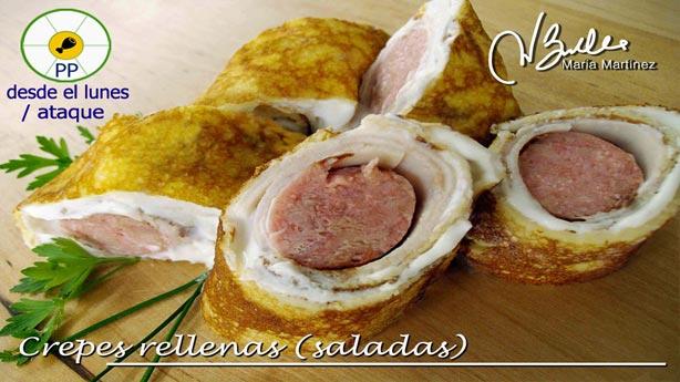 Crepes Dukan fase Ataque,  con relleno de salchicha fresca de pollo y pavo (la receta de David)