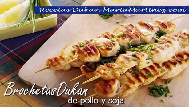 Brochetas Dukan de Pollo con salsa de Soja