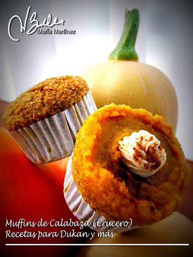 Magdalenas Dukan de Calabaza, decoradas con puré dulce de calabaza y queso