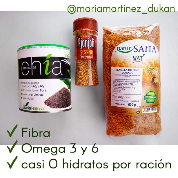 Dieta Dukan: Semillas de Chía, Lino dorado y Sésamo, aptas desde la primera fase de la dieta