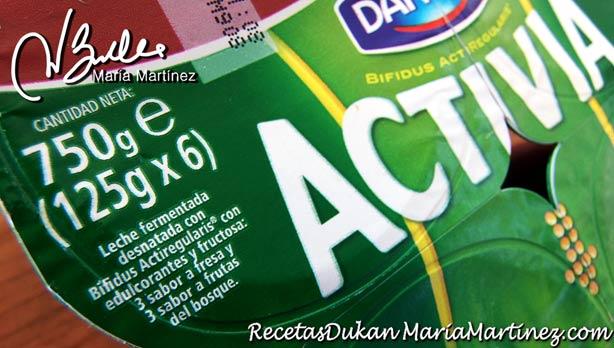 Activia de Danone: no Dukan (lleva Fructosa)