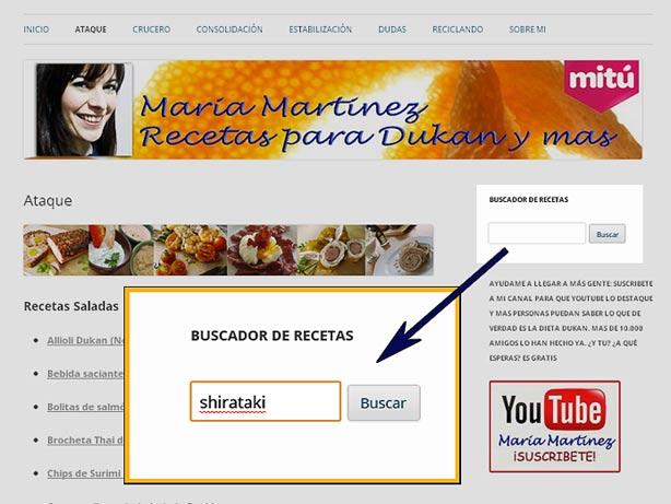 Buscar Recetas Dukan: ¿Cómo encuentro una receta en el blog?