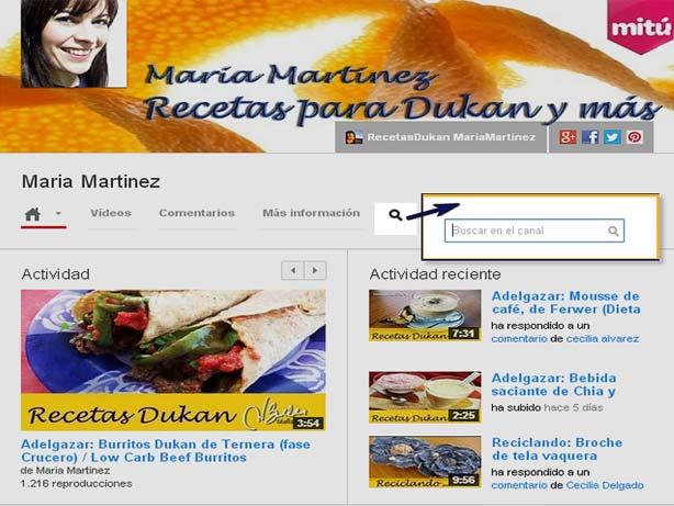 Buscar Recetas Dukan: ¿Cómo encuentro una receta en  Youtube?