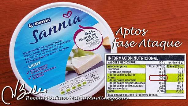 Quesos permitidos dieta Dukan:  quesitos Sannia 3% materia grasa