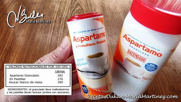 Aspartamo granulado y en pastillas, no apto Dukan