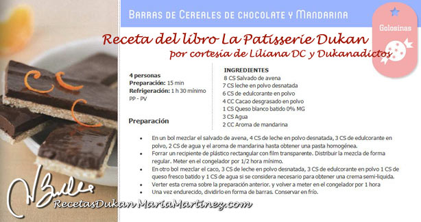 Barritas Dukan de Chocolate y Cereales
