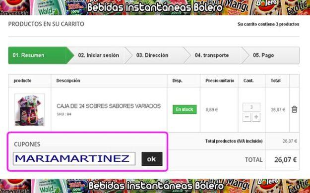 Comprar Bebidas Bolero Dukan: cómo usar el código de descuento MARIAMARTINEZ