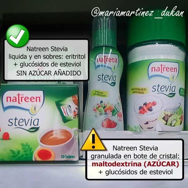 Natreen Stevia: cuidado, la de bote de cristal es azúcar disfrazado (maltodextrina) con apenas un poco de stevia