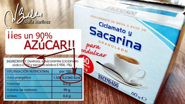La Sacarina en sobres de Mercadona es AZUCAR en un 90%