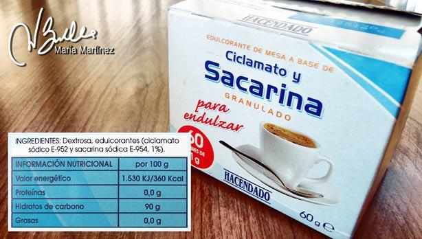 Sacarina de Mercadona: todo Dextrosa (azúcar)