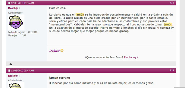 Jamón Serrano: tolerado Dukan