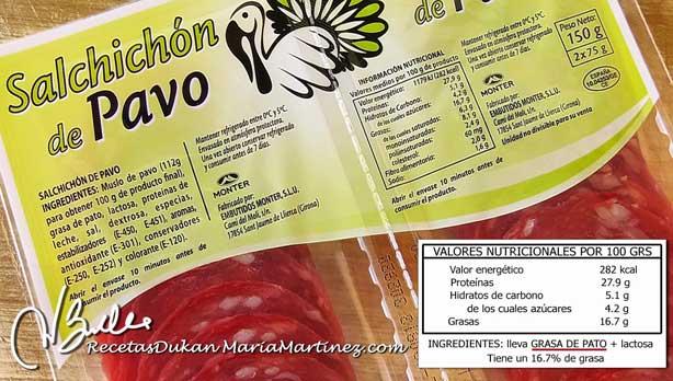 Salchichón de Pavo y dieta Dukan