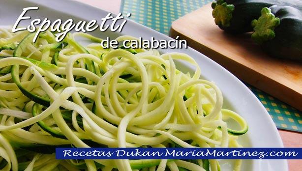 Recetas Dukan con Calabacín:  espaguetis de calabacín