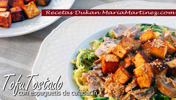 Tofu Mercadona Recetas: Tofu Tostado con espaguetis de calabacín y salsa de queso (dieta Dukan,  Crucero PV )