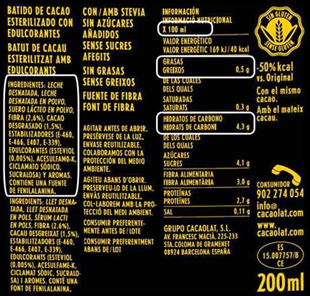 Cacaolat 0% apto Dukan desde fase Ataque: Ingredientes y Valores Nutricionales