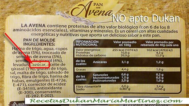 Pan de Avena Mercadona: NO apto Dukan ni para la dieta original ni para la NUEVA dieta Dukan 2014 (lleva azúcar)