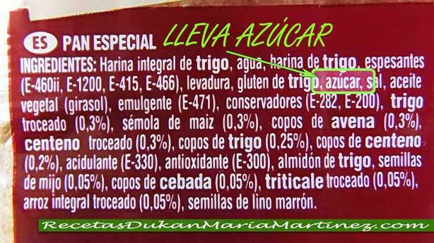 Pan Thins NO Dukan:  atención, lleva azúcar en la lista de ingredientes.
