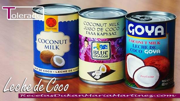 Leche de Coco Dukan: Tolerado, desde fase Crucero (100 ml = 1 tolerado)
