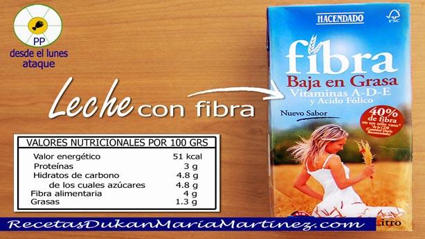 Leche dieta Dukan: leche desnatada rica en fibra