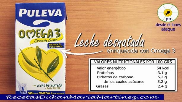 Leche dieta Dukan: leche desnatada Puleva Omega 3