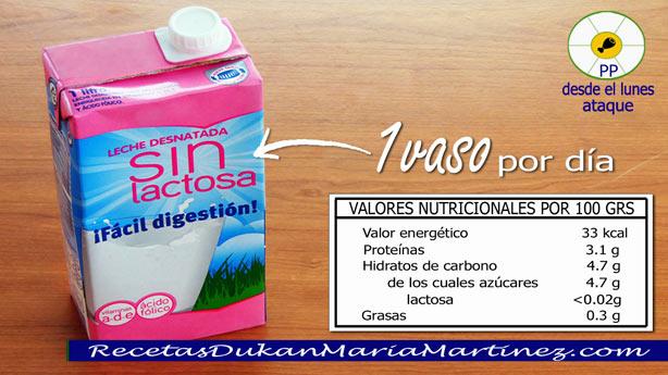 Leche dieta Dukan: leche desnatada sin lactosa