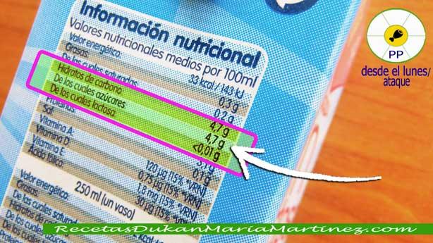 Dukan: leche sin lactosa. ¿cuánta puedo tomar? ¿engorda menos que la normal?