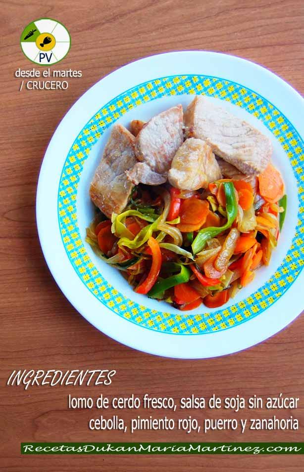 Lomo de cerdo con verduritas salteadas y salsa de soja: Recetas rápidas Dukan (Proteína Verdura)