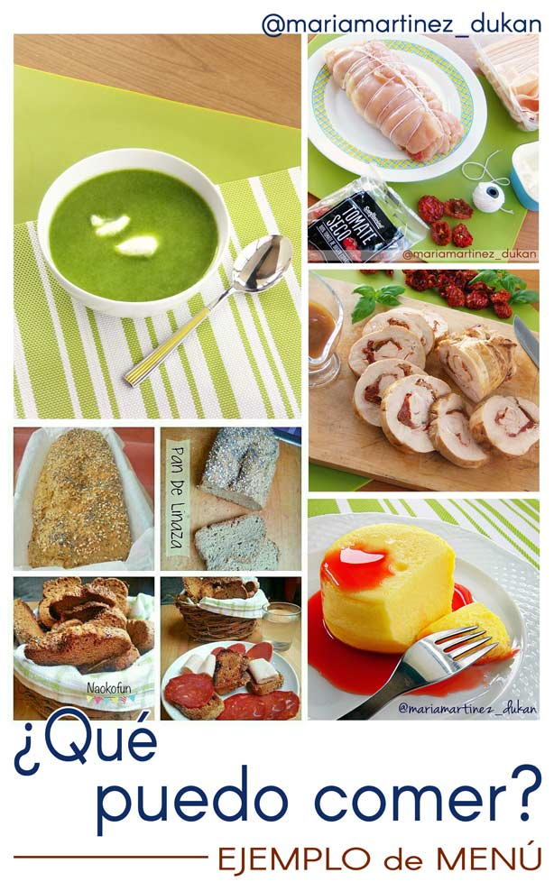 Dieta Dukan, ejemplo de Menú para comida o cena