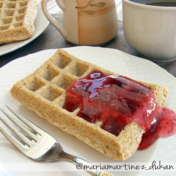 Dieta Dukan, desayunos: gofres de salvado de avena con mermelada de chía